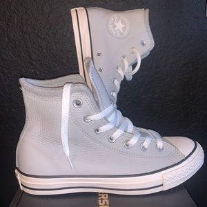 GRAY LEATHER HIGH TOP CONVERSE BRAND NEW